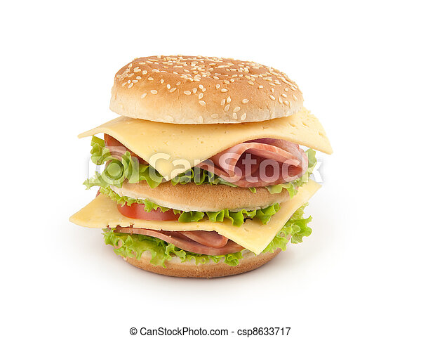 sandwich with ham, cheese and vegetables on white background - csp8633717