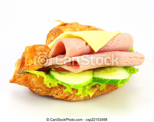 sandwich with ham, cheese on white background - csp22153498