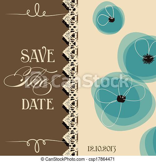 Save the date elegant invitation, floral design - csp17864471