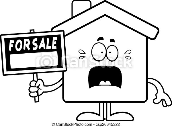 Scared Cartoon Home Sale - csp26645322