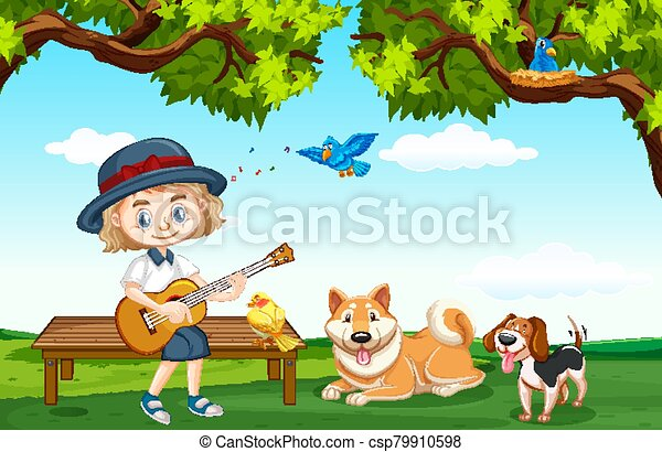 Scene with cute woman and many pets in the park - csp79910598