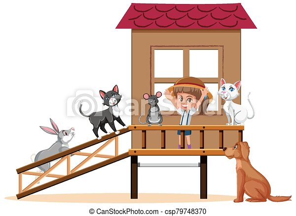 Scene with girl and many pets in the house - csp79748370