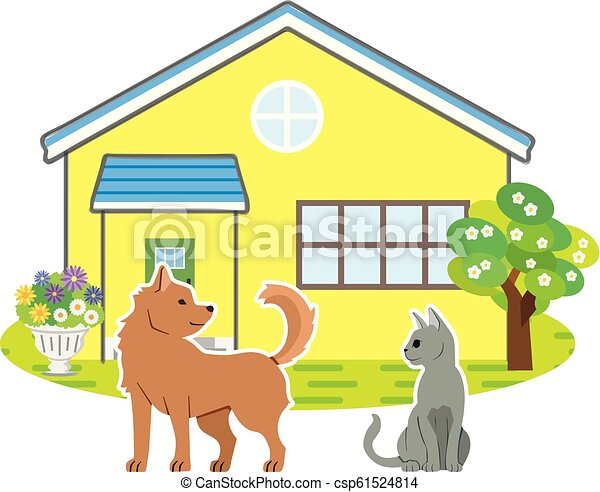scenery of the house with dog and cat - csp61524814