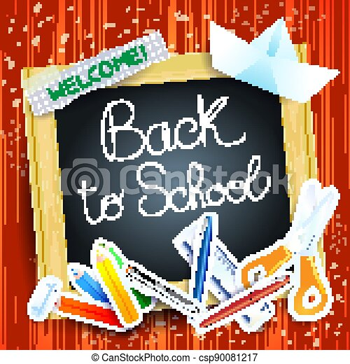 School background with blackboard, vector - csp90081217