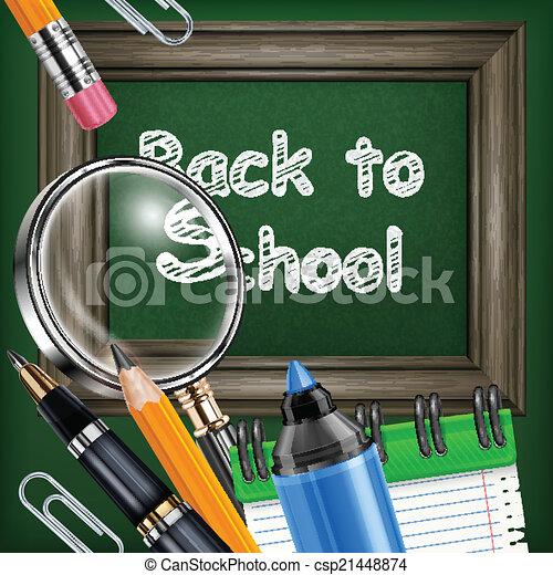 School blackboard and stationery - csp21448874