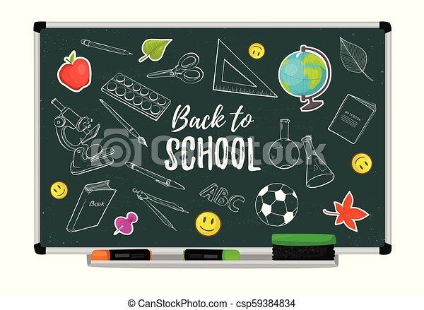 school blackboard vector - csp59384834