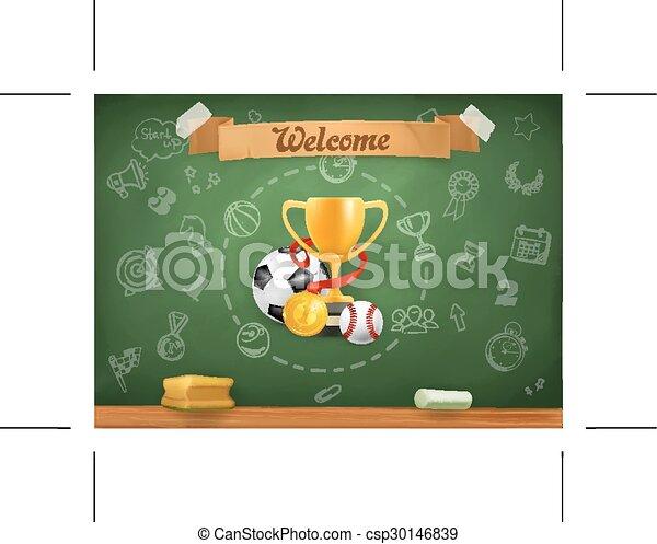 School sports, infographics background - csp30146839