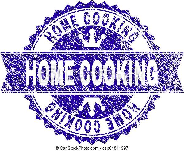 Scratched Textured HOME COOKING Stamp Seal with Ribbon - csp64841397