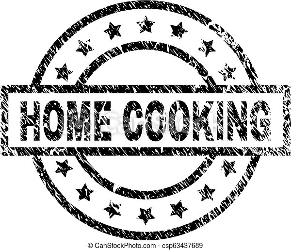 Scratched Textured HOME COOKING Stamp Seal - csp63437689