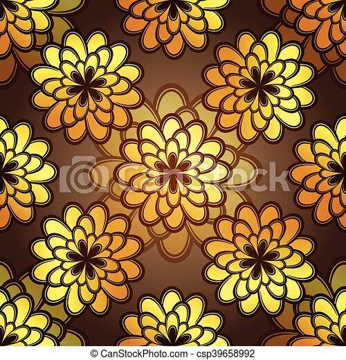 Seamless dark floral pattern - csp39658992
