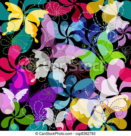 Seamless dark floral pattern - csp8362793