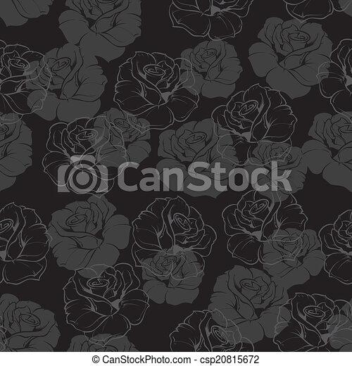 Seamless dark floral vector pattern - csp20815672