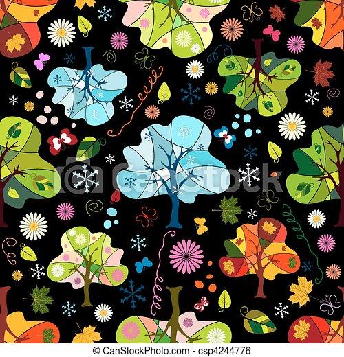 Seamless floral dark pattern - csp4244776