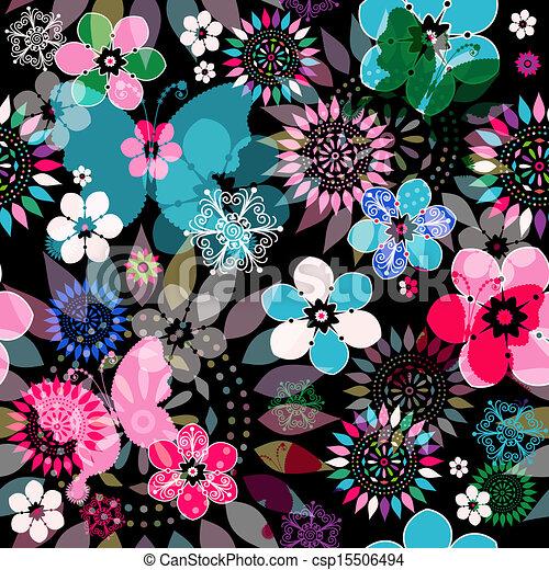 Seamless floral dark pattern - csp15506494