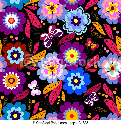 Seamless floral dark pattern - csp4131738