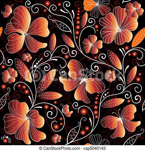Seamless floral dark pattern - csp5040143