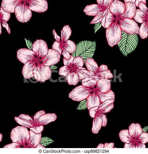 Seamless floral pattern, apple bloom dark botanical vector background illustration - csp89821294