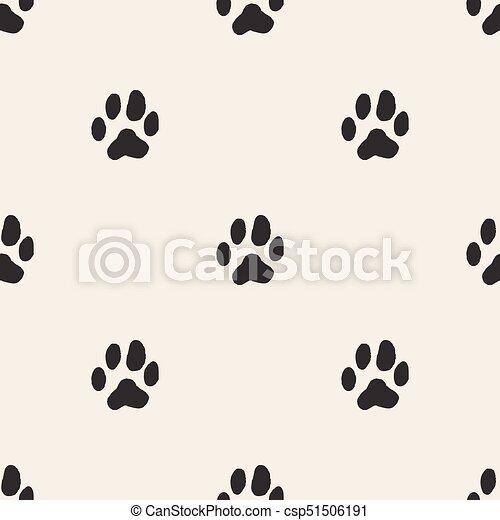 seamless monochrome animal track pattern background - csp51506191