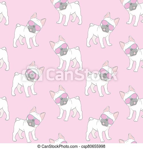 Seamless pattern with a black and white Cartoon French Bulldog puppies in a glasses on a pink background. Vector illustration. - csp80655998