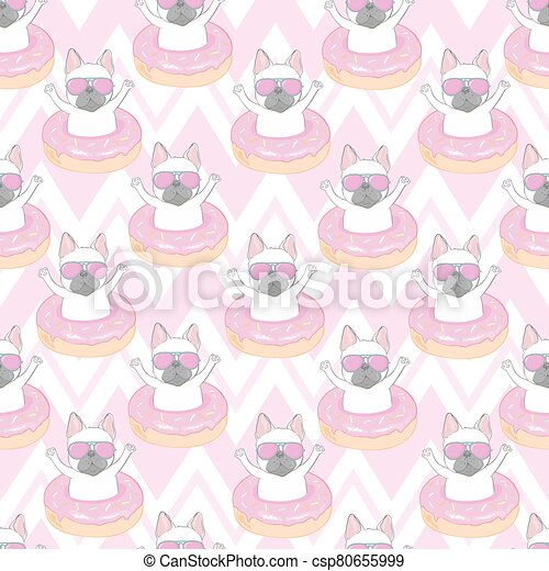 Seamless pattern with a black and white Cartoon French Bulldog puppies in a glasses on a pink background. Vector illustration. - csp80655999