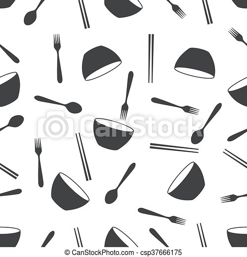 seamless pattern with bowl fork - csp37666175