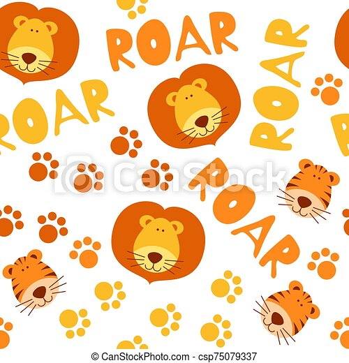 Seamless pattern with cute tigers and lions - csp75079337