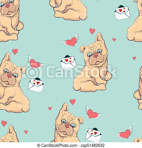 seamless pattern with dogs, childish pattern with dogs, vector textile fabric print, wrapping paper. - csp51482632