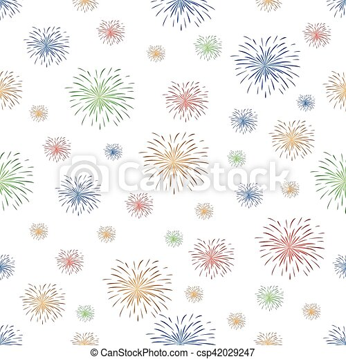 seamless pattern with fireworks - csp42029247