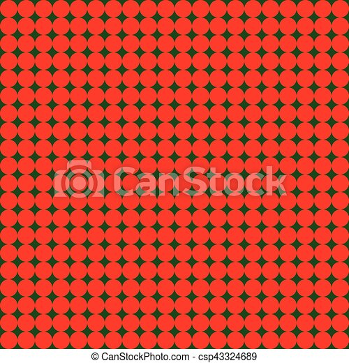 Seamless pattern with little red circles on green dark background - csp43324689