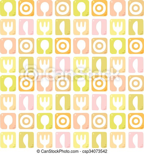 Seamless pattern with spoon, fork, plate and knife - csp34073542
