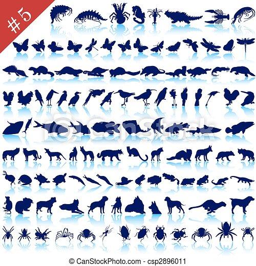 set of animal silhouettes - csp2896011