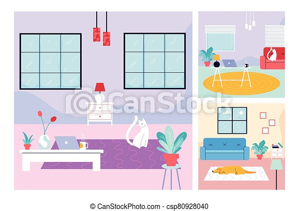 set of cards with a dog and cat - csp80928040