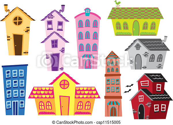 set of cartoon house and building - csp11515005