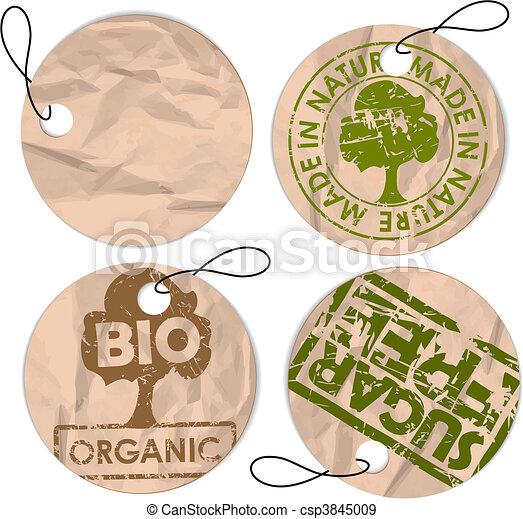 Set of round grunge tags for organic food - csp3845009