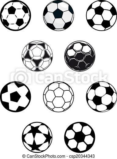 Set of soccer or football balls - csp20344343