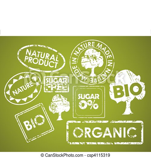 Set of stamps for organic food - csp4115319