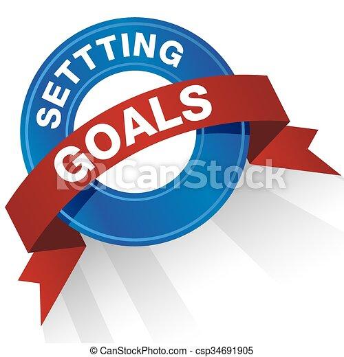 Setting Goals Badge - csp34691905