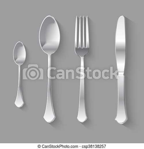 Silver Fork Spoon and Knife Top View - csp38138257