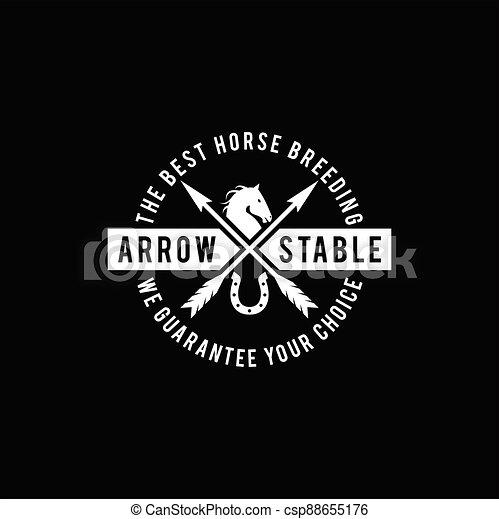 Simple Horse Ranch Stable Stallion with Cross Arrow Logo Design - csp88655176