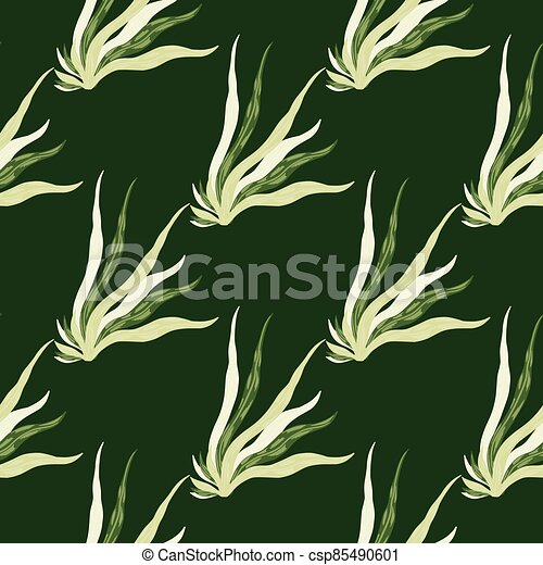 Simple seamless marine pattern with seaweeds shapes. Foliage ocean silhouettes on green dark background. - csp85490601