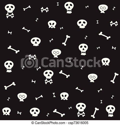 Skull bone seamless pattern Halloween scarf isolated cartoon repeat wallpaper tile background illustration doodle design - csp73616005