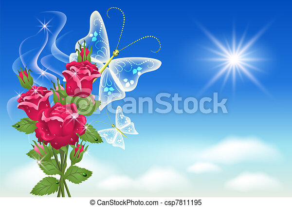 Sky, roses, and butterfly. - csp7811195