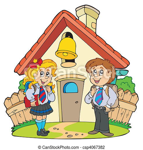 Small school with kids in uniforms - csp4067382