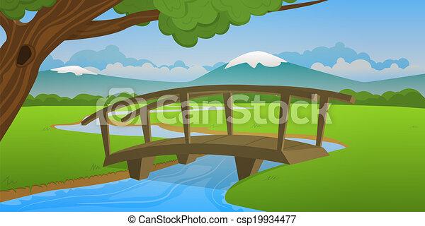 Small wooden bridge - csp19934477