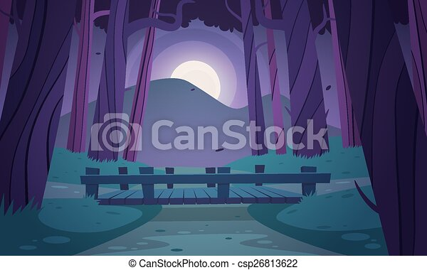 Small wooden bridge in the woods - csp26813622
