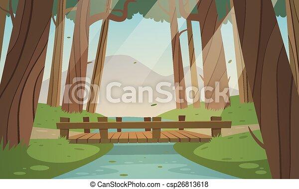 Small wooden bridge in the woods - csp26813618