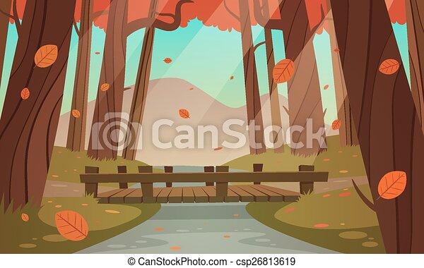 Small wooden bridge in the woods - csp26813619