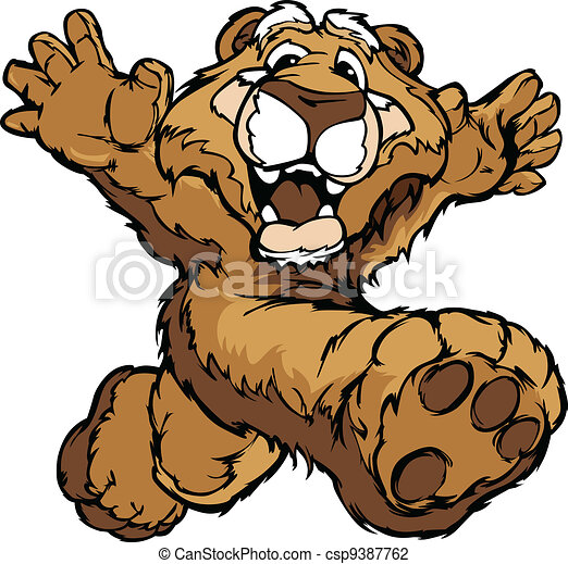 Smiling Mountain Lion or Cougar Running with Hands Mascot Vector Illustration - csp9387762