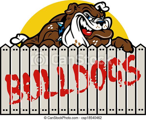 smirking bulldog with fence - csp18540462