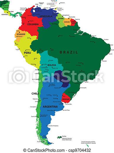 South America political map - csp9704432